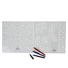 """Threaders 12"""" x 12"""" Feathers Quilt Stencils and Pens"""
