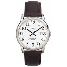 Timex Men's Silvertone EZ-Reader Black Strap Watch