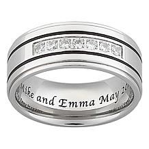Titanium and CZ Grooved Engravable Band