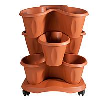 Trifogli 3 Tier Stackable Rolling Planter