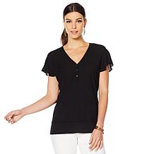 fb58345218c Vince Camuto Flutter-Sleeve Mixed-Media Top