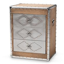Wholesale Interiors Audric Metal & Glass 3-Drawer Accent Cabinet