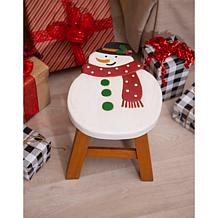 Wind and Weather Hand-Carved, Painted Wooden Holiday Stool