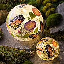 Wind and Weather Set of 2 Monarch Butterfly Solar Crackle Glass Globes
