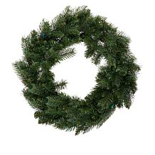 """Winter Lane 24"""" Indoor/Outdoor Wreath with Remote and 30 LED Lights"""