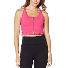WVVYPower Zip-Front Sports Bra with Ruffle Detail