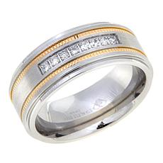 0.14ctw Diamond 2-Tone Stainless Steel 9mm Wedding Band