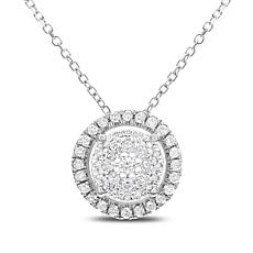 "0.25ctw Diamond 14K Gold Round Pendant with 16"" Chain and 2"" Extender"