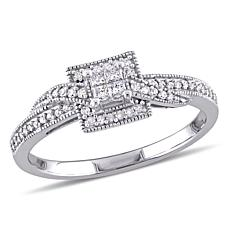 0.25ctw Princess and Round Diamond Engagement Ring