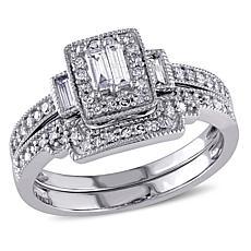 0.38ctw Baguette & Round Diamond 10K Gold Bridal Set