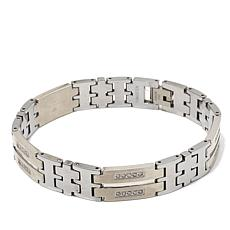 0.5ctw Diamond-Accent Men's Tungsten and Steel Bracelet