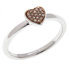 .081ctw Colored Diamond Heart Sterling Silver Ring