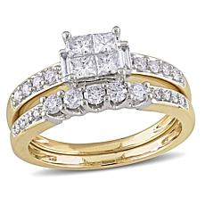 0.95ctw Multishaped 14K Yellow Gold 2-Ring Set