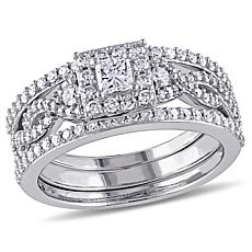 0.96ctw Engagement Ring and Wedding Bands 10K Gold Set