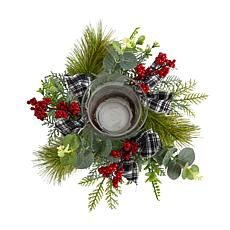"""10"""" Evergreen Pine and Red Berries Candelabrum with Bows"""