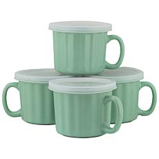 10 Strawberry Street 16 oz. Soup Mug with Lid Set of 4 - Turquoise