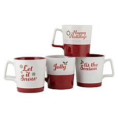 10 Strawberry Street Assorted Red and White Holiday Mugs 4-Pack