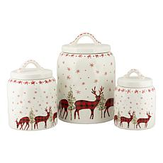 10 Strawberry Street Buffalo Check Reindeer 3 Piece Canister Set