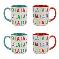 10 Strawberry Street Christmas Falala Mugs, Assorted Set of 4