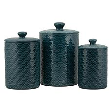 10 Strawberry Street Ocean Embossed 3-piece Canister Set - White