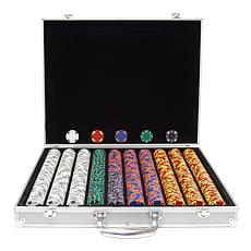 1000 Tri-Color Ace/King Suited Chips with Case