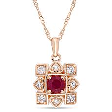 10K Diamond and Ruby Fashion Pendant
