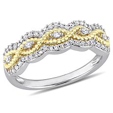 10K Gold 0.25ctw Diamond Two-Tone Braided Anniversary Band Ring