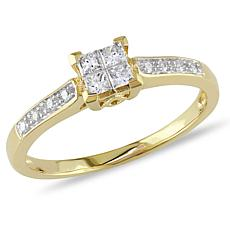 10K Gold 0.68ctw Diamond Princess-Cut and Round Ring