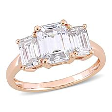 10K Gold 2.50ctw Moissanite Emerald-Cut Three-Stone Engagement Ring