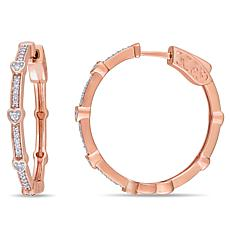 10K Gold .25ctw Diamond Heart Station Hoop Earrings