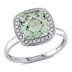 10K Gold 2.73ctw Prasiolite and Diamond Halo Ring