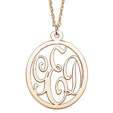"10K Gold 3-Initial Monogram Pendant with 18"" Chain"