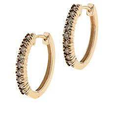 10K Gold .50ctw Champagne Diamond Hoop Earrings