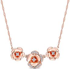 10K Rose Gold .10ctw Diamond Rose Flower Necklace