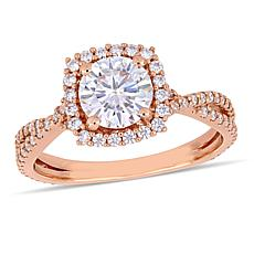 10K Rose Gold 1.79ctw Moissanite Halo Crossover Ring