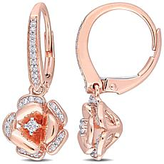 10K Rose Gold .20ctw Diamond Rose Leverback Earrings