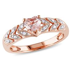 10K Rose Gold .5ctw Morganite and .06ct Diamond Ring