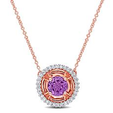 10K Rose Gold Amethyst and Diamond Drop Necklace