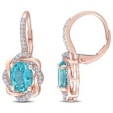 10K Rose Gold Apatite Diamond-Accented Drop Earrings