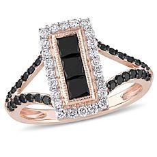 10K Rose Gold Black and White Diamond Rectangular Frame Ring