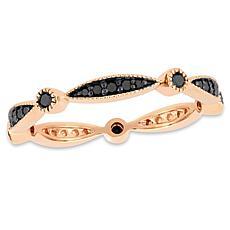 10K Rose Gold Black Diamond Eternity Band Ring