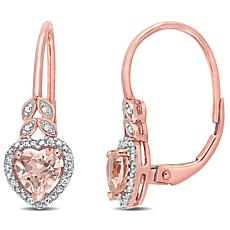 10K Rose Gold Diamond Accent and Morganite Leverback Heart Earrings