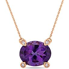 10K Rose Gold Diamond-Accented Amethyst Pendant Necklace