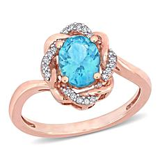 10K Rose Gold Diamond and Apatite Twisted Halo Ring