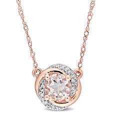 10K Rose Gold Morganite and Diamond Swirl Halo Necklace