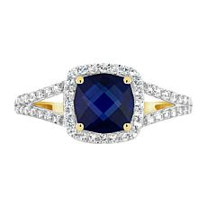 10K Simulated Gem and Simulated White Sapphire 7mm Stud Ring