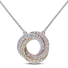 10K Tri-Tone Gold 1ctw Diamond Swirl Drop Necklace