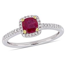 10K Two-Tone Cushion-Cut Ruby and Diamond Halo Ring