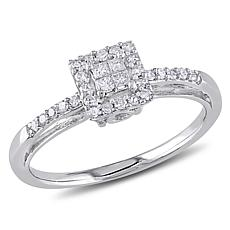 10K White Gold 0.19ctw White Diamond Engagement Ring