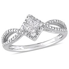 10K White Gold 0.25ctw Diamond Infinity Engagement Ring